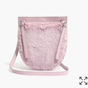 Madewell the knot crossbody bag in faux fur